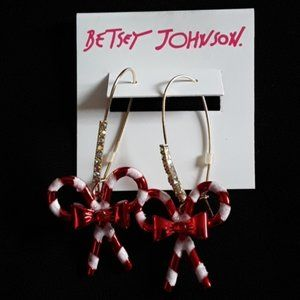 Betsey Johnson CANDY CANE BOW EARRINGS